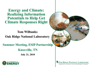 Energy and Climate: Realizing Information Potentials to Help Get Climate Responses Right