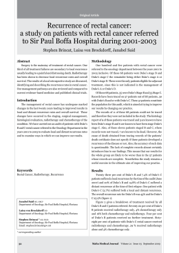 Recurrence of rectal cancer: to Sir Paul Boffa Hospital during 2001-2003