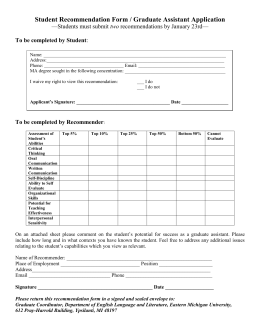 Student Recommendation Form / Graduate Assistant Application two