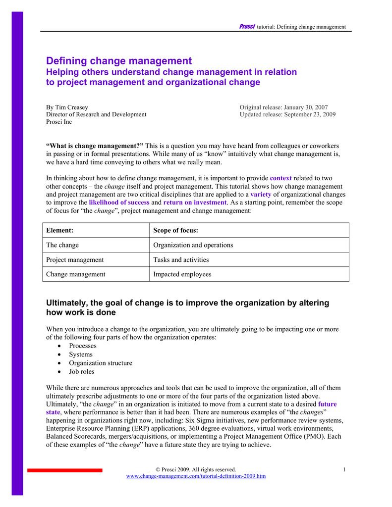 Defining change management