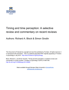 Timing and time perception: A selective