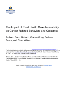 The Impact of Rural Health Care Accessibility Author