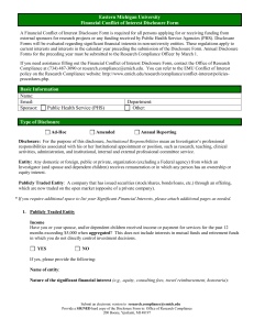 Eastern Michigan University Financial Conflict of Interest Disclosure Form