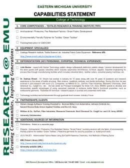 CAPABILITIES STATEMENT EASTERN MICHIGAN UNIVERSITY College of Technology