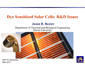 Dye Sensitized Solar Cells: R&D Issues Jason B. Baxter Drexel University