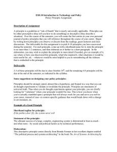 ESD.10 Introduction to Technology and Policy Description of Assignment Policy Principle Assignment