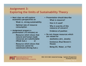 Assignment 3: Exploring the limits of Sustainability Theory •