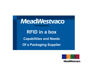 _____ RFID in a box Capabilities and Needs Of a Packaging Supplier