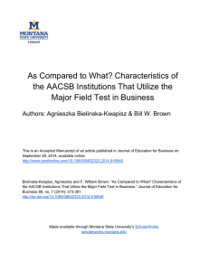 As Compared to What? Characteristics of Major Field Test in Business