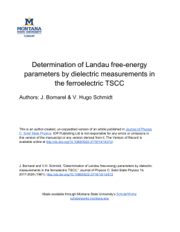 Determination of Landau free-energy parameters by dielectric measurements in the ferroelectric TSCC