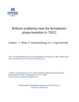 Brillouin scattering near the ferroelectric phase transition in TSCC