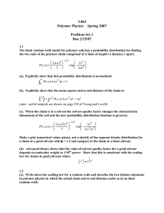 3.063 Polymer Physics  Spring 2007 Problem Set 1 Due 2/15/07