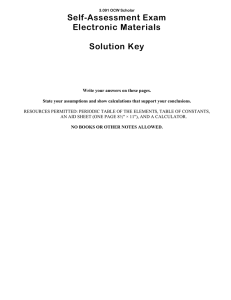 Self-Assessment Exam Electronic Materials  Solution Key