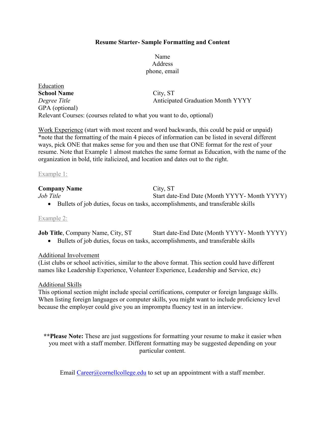 Resume Starter Sample Formatting And Content School Name Name