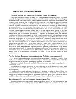 factionalism according to james madison essay