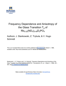 Frequency Dependence and Anisotropy of the Glass Transition T of Rb