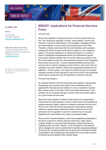 BREXIT: Implications for Financial Services Firms Introduction