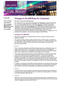 Changes to the AIM Rules for Companies