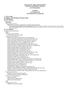 COLLEGE OF ARTS AND SCIENCES COLLEGE ADVISORY COUNCIL Arts Subcommittee AGENDA
