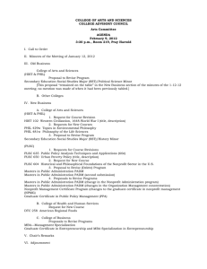 COLLEGE OF ARTS AND SCIENCES COLLEGE ADVISORY COUNCIL Arts Committee AGENDA