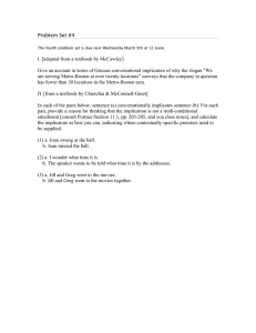Problem Set #4 I. [adapted from a textbook by McCawley]