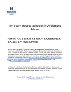 Ion beam induced adhesion in Al/diamond bilayer