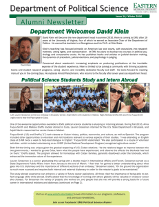 Department of Political Science Alumni Newsletter Department Welcomes David Klein
