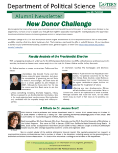 Department of Political Science New Donor Challenge Alumni Newsletter