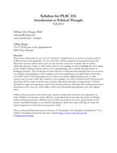 Syllabus for PLSC 213: Introduction to Political Thought Fall 2015