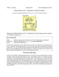 Political Science 210 – Introduction to Political Analysis