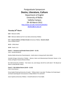 Desire, Literature, Culture Postgraduate Symposium Department of English University of Malta
