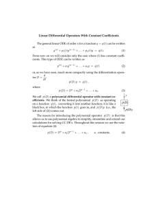 Linear Differential Operators With Constant Coefficients = ( )
