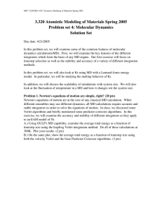 3.320 Atomistic Modeling of Materials Spring 2005 Problem set 4: Molecular Dynamics Solution Set