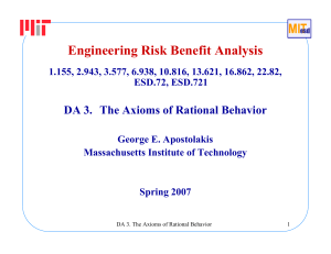 Engineering Risk Benefit Analysis DA 3. The Axioms of Rational Behavior