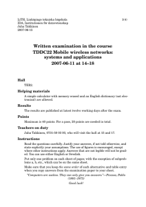 Written examination in the course TDDC22 Mobile wireless networks: systems and applications