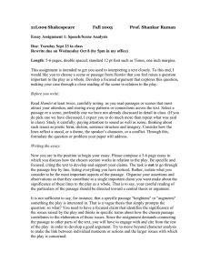 21L009 Shakespeare Fall 2003 Prof. Shankar Raman Essay Assignment 1: Speech/Scene Analysis