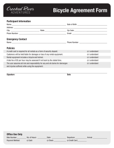 Bicycle Agreement Form Participant Information