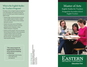Master of Arts What is the English Studies for Teachers Program?