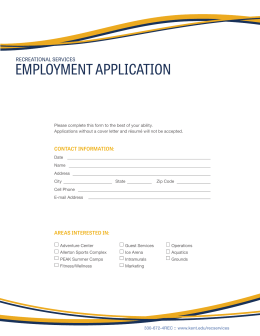 EMPLOYMENT APPLICATION RECREATIONAL SERVICES