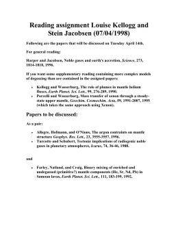 Reading assignment Louise Kellogg and Stein Jacobsen (07/04/1998)