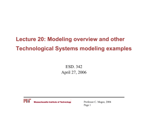 Lecture 20: Modeling overview and other Technological Systems modeling examples ESD. 342
