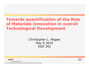 Towards quantification of the Role q of Materials Innovation in overall Technological Development