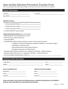 Inter-facility Infection Prevention Transfer Form