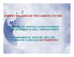 ENERGY BALANCE IN THE CLIMATE SYSTEM