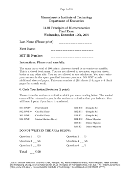 Massachusetts Institute of Technology Department of Economics 14.01 Principles of Microeconomics Final Exam