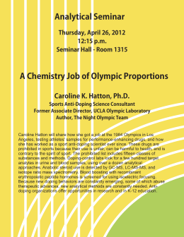 Analytical Seminar A Chemistry Job of Olympic Proportions Caroline K. Hatton, Ph.D.