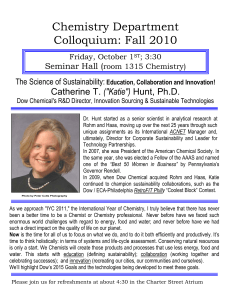 "Chemistry Department Colloquium: Fall 2010 Catherine T. (""Katie"")"