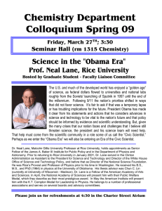 "Chemistry Department Colloquium Spring 09 Science in the ""Obama Era"""