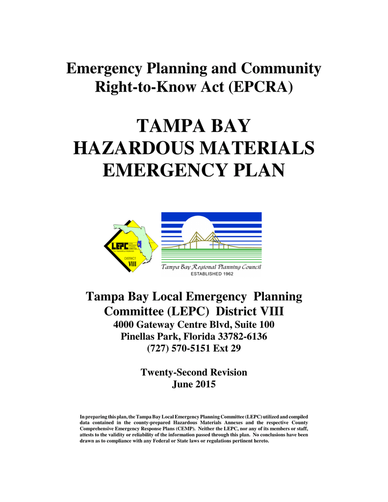 TAMPA BAY HAZARDOUS MATERIALS EMERGENCY PLAN Emergency
