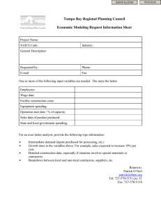 Tampa Bay Regional Planning Council  Economic Modeling Request Information Sheet